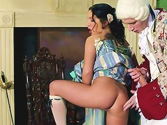 Brunette Cougar Enjoying A Hardcore Cowgirl Style Fuck On Her Dining Room Floor