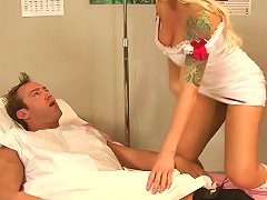 Tattooed Blonde With Stunning Juggs Sucking A Stranger's Cock