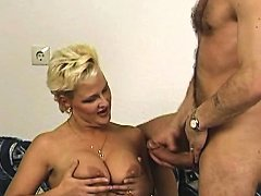 Chubby Blonde Milf Sucking And Getting Fucked From