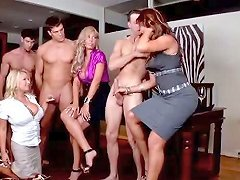 Three Milf Pornstars Play With Three Huge Cocks In Cfnm Group Sex