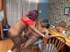 Black Bitch Boned On The Table And Kitchen Floor