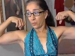 Latina Granny Flexex Her Calves And Biceps
