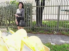 Massive Tits Becky Bandini Jumps In Vanfor A Hot Taco Fuck