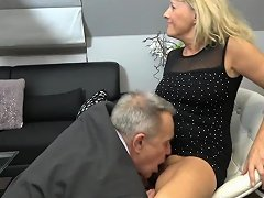 Old Couple Fucks The Young Busty Maid