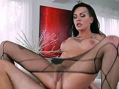 Nasty Brunette Milf Lola Luscious Rides Hard Dick With Her Tights On