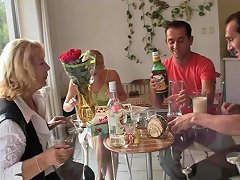 Old Couple Have Fun With His Blonde Girlfriend